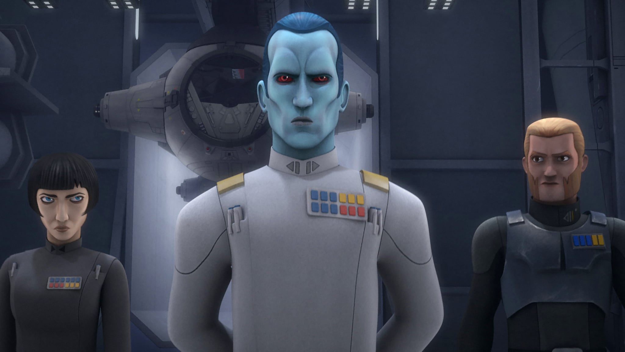STAR WARS REBELS, (from left): Arihnda Pryce, Grand Admiral Thrawn, Agent Kallus, 'An Inside Man', (Season 3, ep. 309, aired Dec. 3, 2016). Disney XD / courtesy Everett Collection