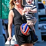 Jane Krakowski and her son Bennett went for a walk in NYC on Saturday.