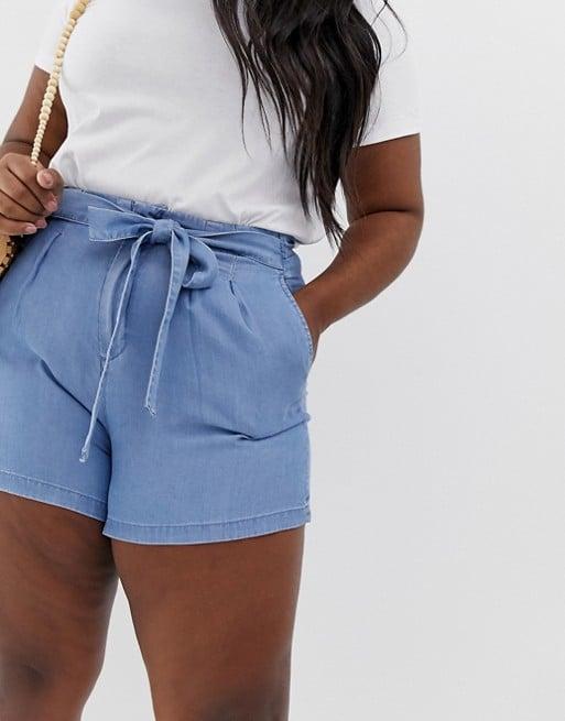 ASOS Vero Moda Curve tie waist chambray shorts