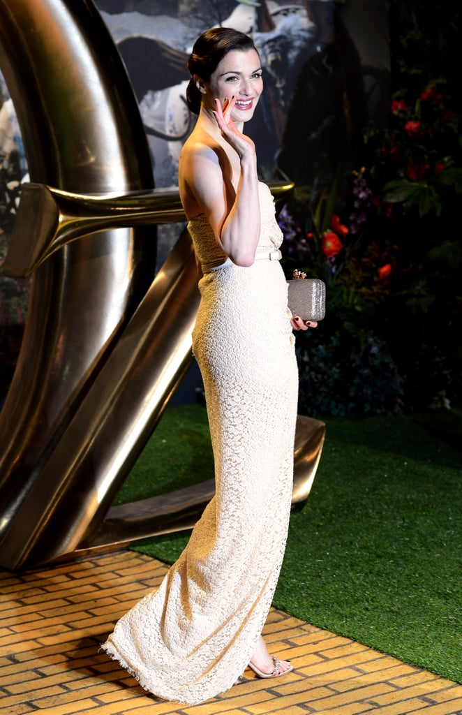 A shot of Rachel's glittery Sophia Webster clutch and jewel-encrusted Tabitha Simmons sandals.