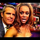 "Andy Cohen attempted to ""smize"" with Tyra Banks. Source: Instagram user bravoandy"