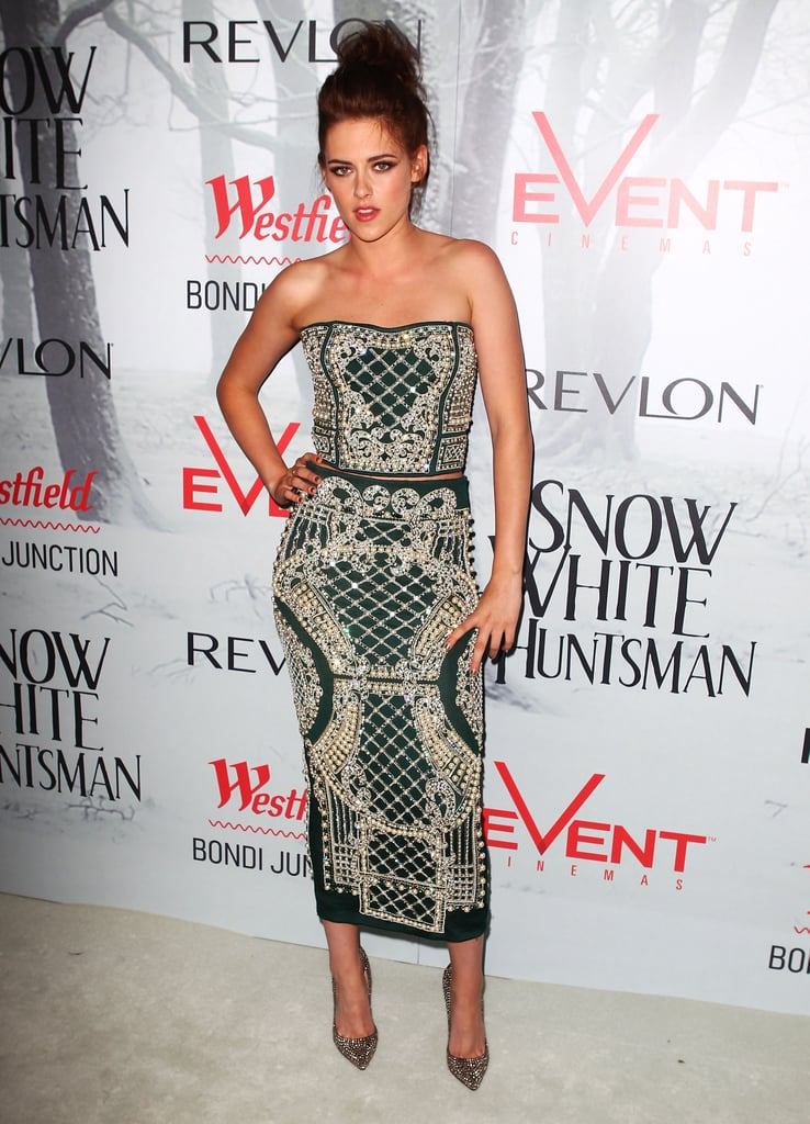 Kristen Stewart wore Balmain at a Snow White and the Huntsman premiere in Australia.