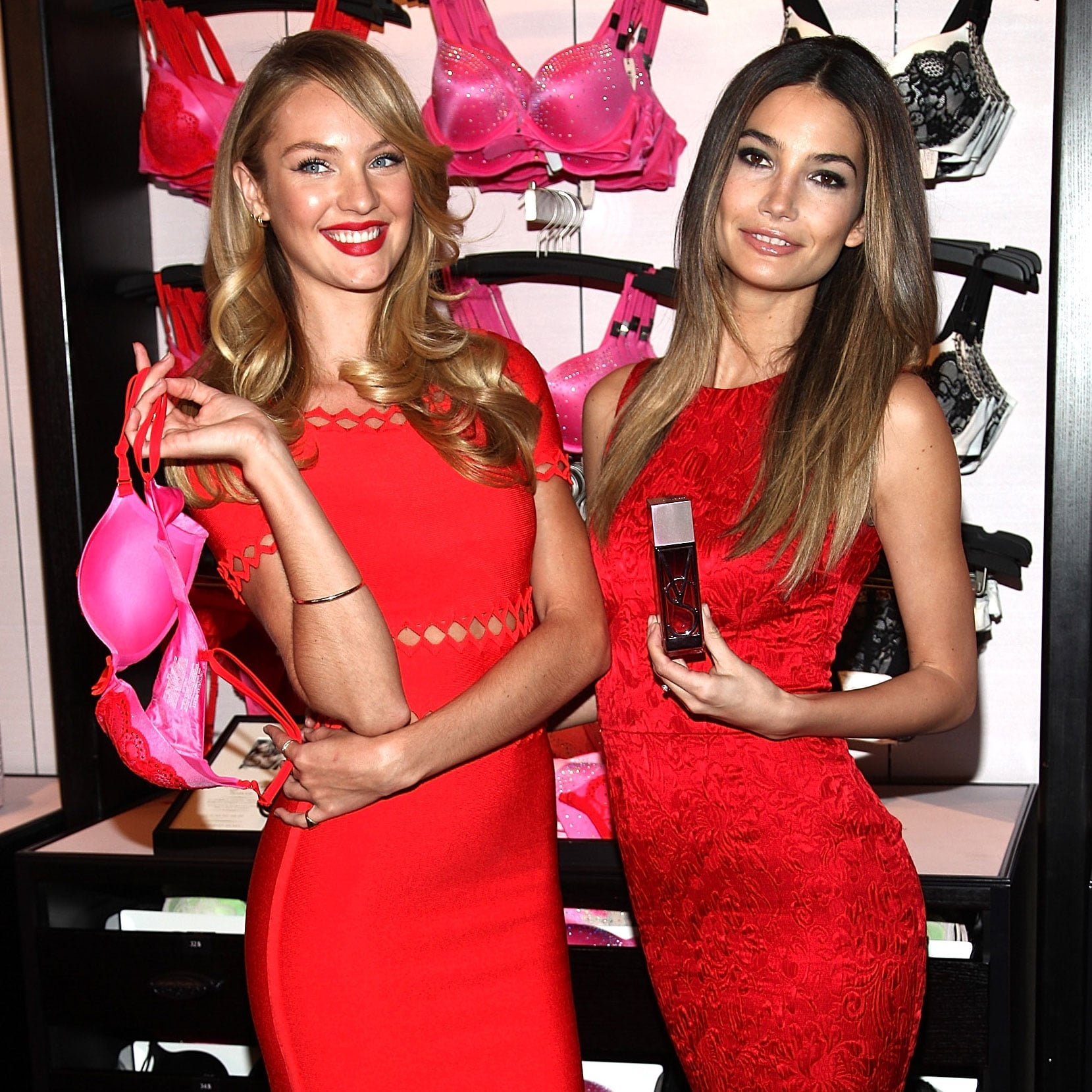 Candice Swanepoel And Lily Aldridge At Valentineu0027s Day Event | POPSUGAR  Celebrity