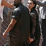Kim Kardashian and Kanye West were hand in hand in LA on Friday.