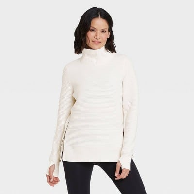All in Motion Quilted Pullover With Funnel Neck Collar