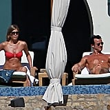 She and ex-husband Justin Theroux soaked up the rays in Cabo together in December 2012.