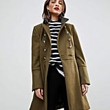 MANGO Flare Sleeve Button Military Coat
