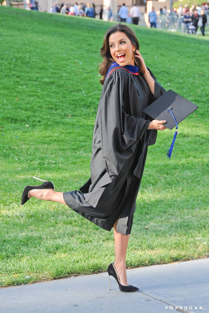 Eva Longoria posed in her graduation gown.