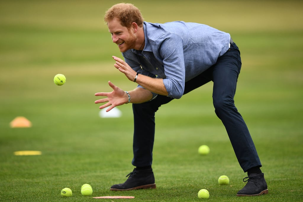 Harry showed off his sporty side when he caught a tennis ball during a visit to Lord's cricket ground in London in October.