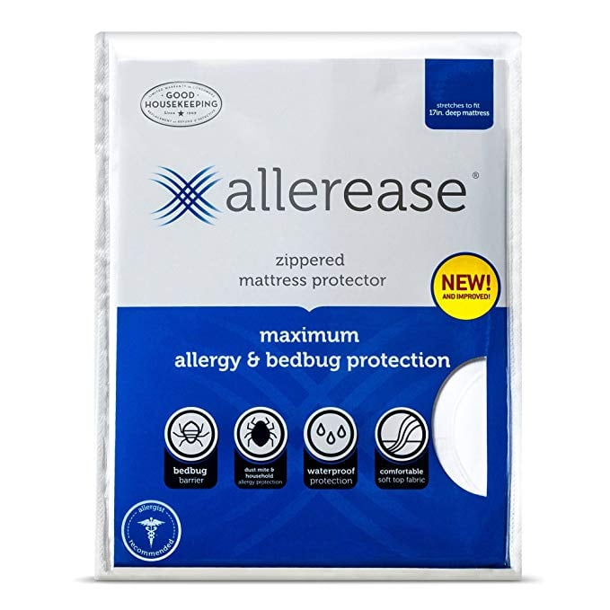 AllerEase Maximum Allergy and Bed Bug Waterproof Zippered Mattress Protector