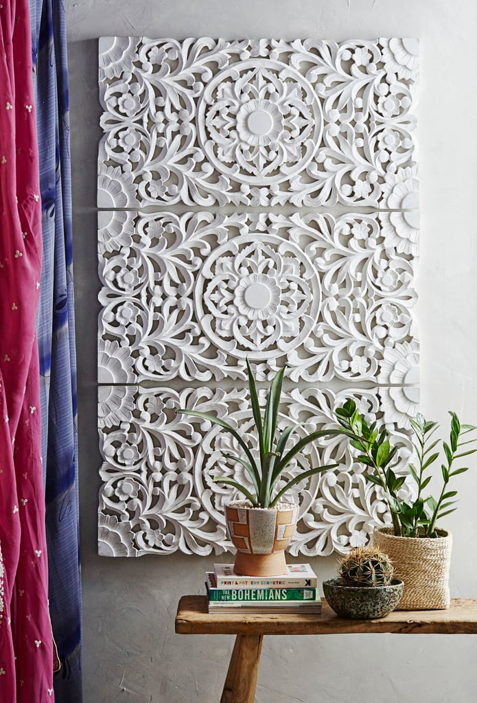 Products pictured: Ornate Wood Carved Wall Art, Set of 3 ($299)