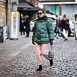 Winter Outfit Idea: A Green Jacket and Pink Pants