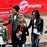 David, Victoria, Brooklyn, and Cruz were on hand to support Romeo after he took part in the junior run during the London Marathon in April 2015.