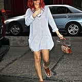 Rihanna toted a purse to dinner.