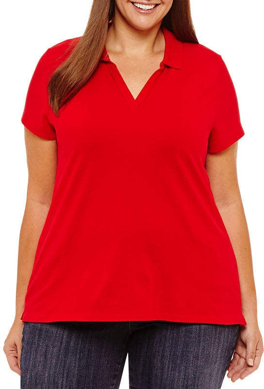0be85b83abd St. John's Bay Short Sleeve Polo | Victoria Beckham Red Polo Shirt ...