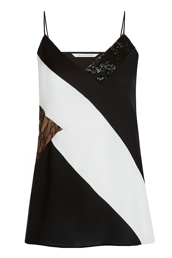 DVF 'Frederica' Embellished Silk and Lace Camisole Top ($248)