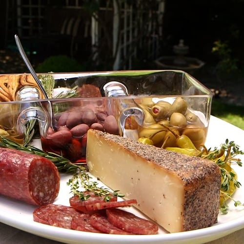 Olive, Cheese, and Salami Platter