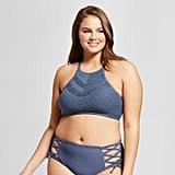 Women's Plus Size Crochet High Neck Bikini