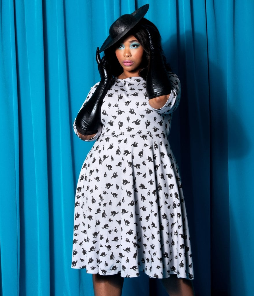 Plus-Size Grey and Black Cats Graves Swing Dress   This ...