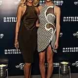 Brooklyn Decker and Rihanna posed together at a photocall for Battleship in London.
