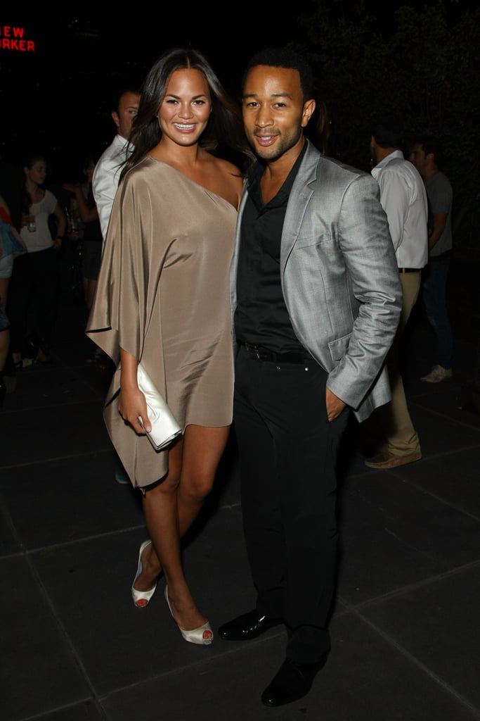 John Legend and girlfriend Christine Teigen, both sharp in neutrals.