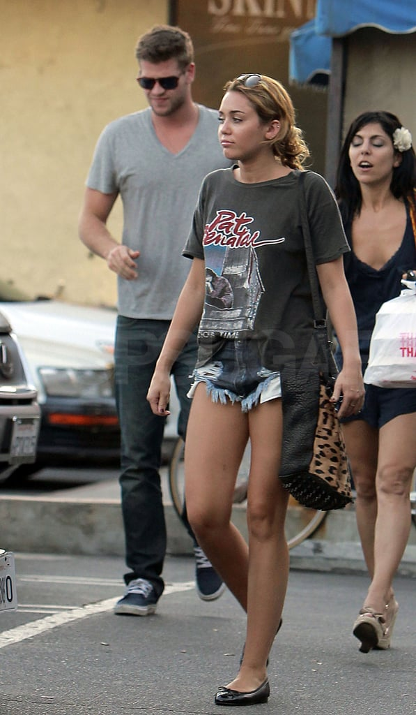 Miley Cyrus and Liam Hemsworth Have an Affectionate Day Out Ahead of VMA Hunger Games Sneak Peek