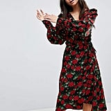 Monki Floral Print Wrap Dress