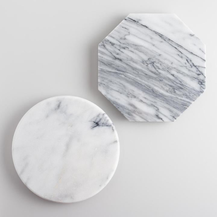 Mini Geo White Marble Cutting Boards Set of 2 ($30)