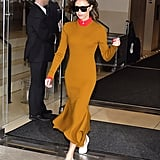 She Wore the Same Outfit in Another Color Variation: Mustard and Red