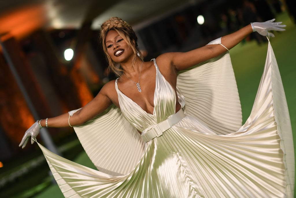 Laverne Cox Wears Silver Pleated Gown to Academy Museum Gala