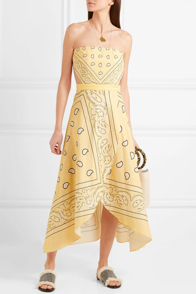 Miguelina Ines Cutout Printed Linen Midi Dress