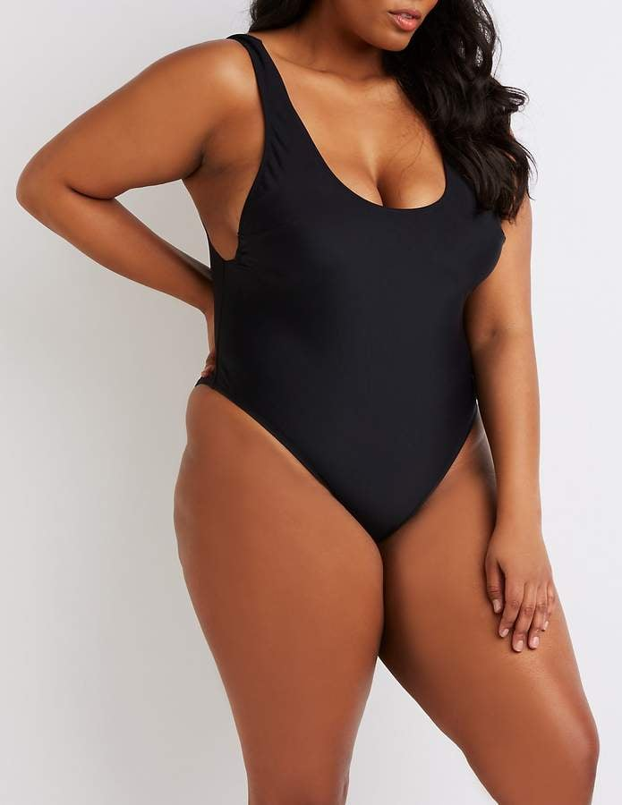 Charlotte Russe Scoop Neck One-Piece Swimsuit