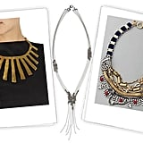 Yves Saint Laurent Fringes Necklace ($950), Banana Republic Ariadne Necklace ($40), Juicy Couture Layered Velvet Drama Torsade Necklace ($148)