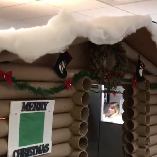 Woman Decorates Cubicle Like a Log Cabin