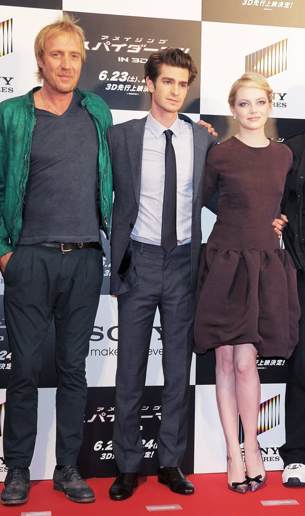 Rhys Ifans, Andrew Garfield, and Emma Stone linked up at The Amazing Spider-Man premiere in Japan.