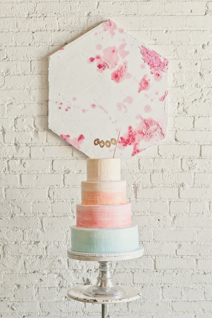 For a modern twist on a pastel palette, this cake utilizes food coloring to create a watercolor effect.