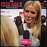 Gwyneth Paltrow stopped to say hello at the premiere of Iron Man 3.