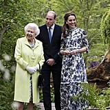The queen visited the Chelsea Flower Show with Prince William and Kate Middleton in May 2019.