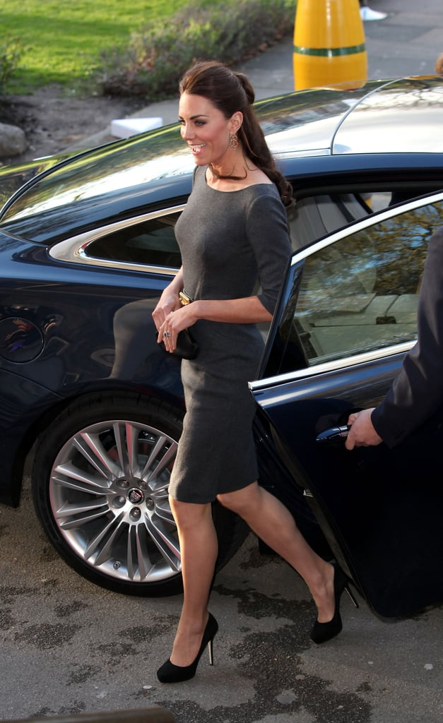 Kate Middleton wore a gray dress.