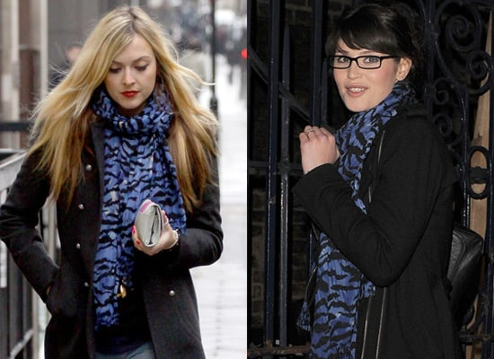 Fearne Cotton and Gemmer Arterton in Blue Tiger Print Scarf by Alice Temperley
