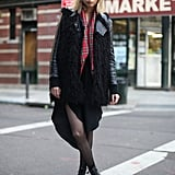 Take the grunge-inspired approach and add a little check and sheer black tights to the mix. Source: Le 21ème | Adam Katz Sinding