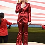 Lady Gaga's Red Gucci Suit at the Super Bowl