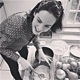Michelle Dockery had fun baking. Source: Instagram user theladydockers