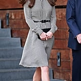 Kate's Ralph Lauren houndstooth-print dress comes complete with a skinny black patent-leather belt.