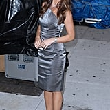 Minka Kelly in gray on her way into David Letterman.