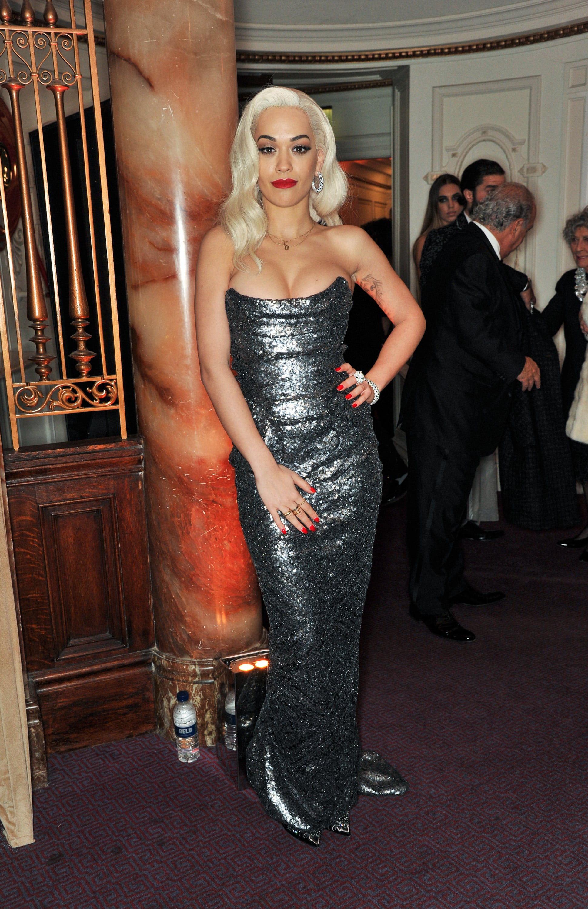 Rita Ora channeled old Hollywood glamour for the event.
