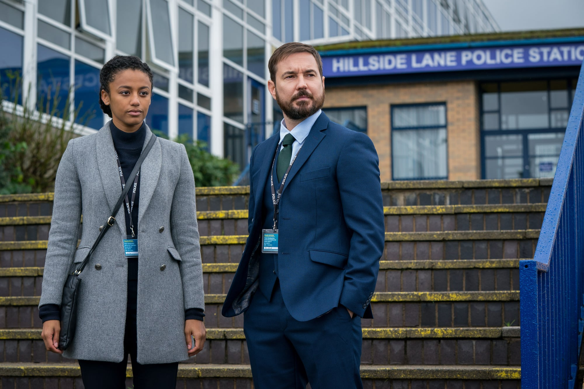WARNING: Embargoed for publication until 00:00:01 on 30/03/2021 - Programme Name: Line of Duty S6 - TX: n/a - Episode: Line Of Duty - Ep 3 (No. n/a) - Picture Shows:  DC Chloe Bishop (SHALOM BRUNE-FRANKLIN), DI Steve Arnott (MARTIN COMPSTON) - (C) World Productions - Photographer: Steffan Hill