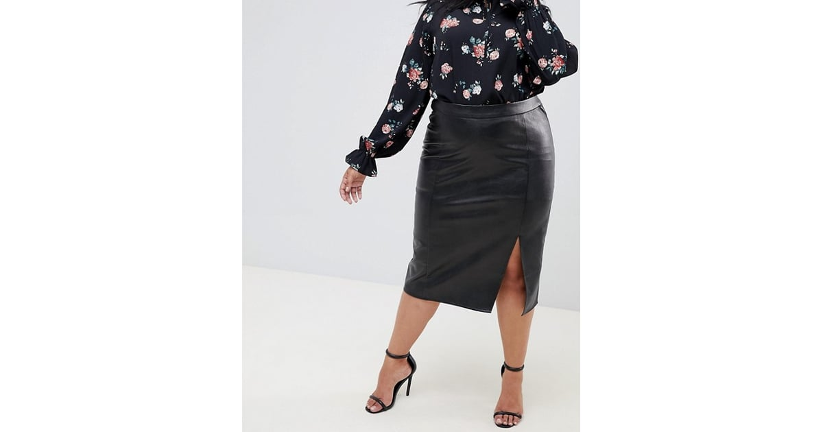Fashion Union Pu Pencil Skirt With Side Split Amal