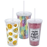 Decorative Double-Wall Plastic Tumblers With Lids and Straws ($1 each)