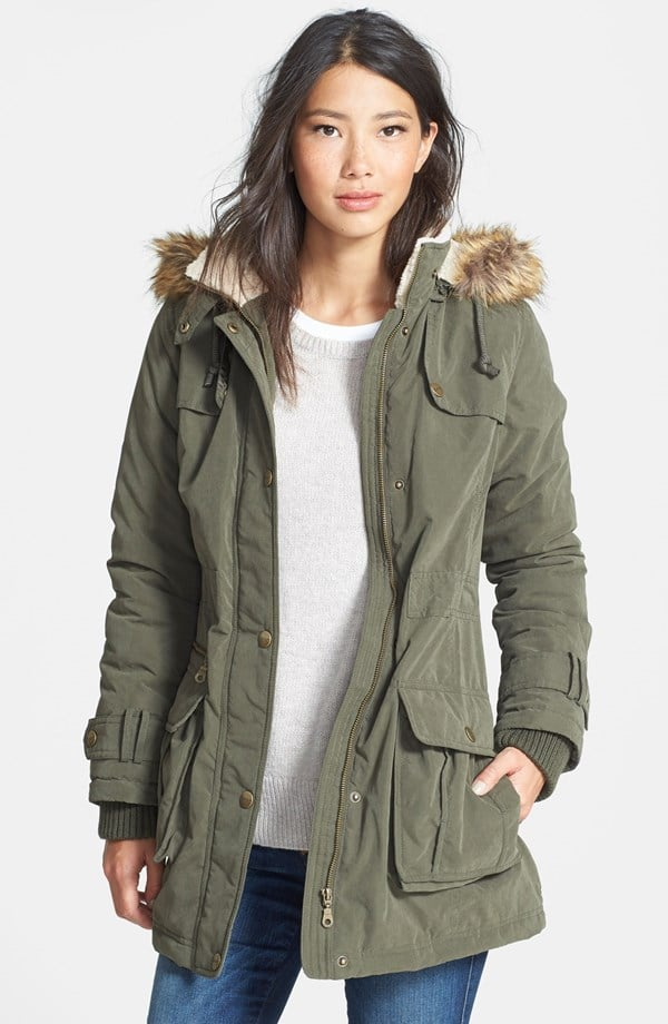 DKNY Faux Fur Trim Anorak